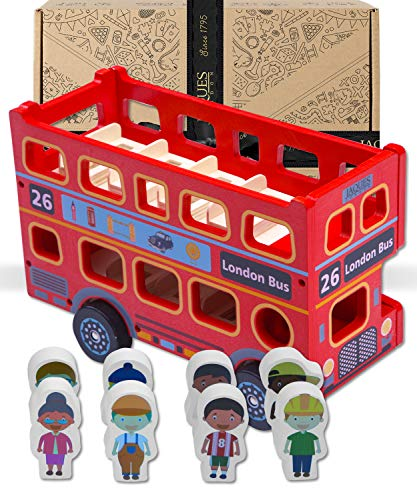 Jaques of London Bus Auto Spielzeug | Auto Spielzeug 1 2 3 Jahre | Cars Spielzeug | Qualität Holz Spielzeug | seit 1795
