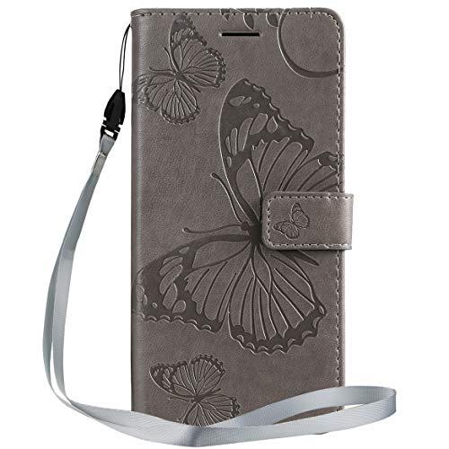 Yiizy Handyhüllen für LG K50 / LG Q60 Ledertasche, 3D Schmetterling Stil Lederhülle Brieftasche Schutzhülle für LG K12 Max hülle Silikon Cover mit Magnetverschluss Kartenfächer (Grau)