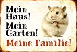 Schatzmix Mein Haus! Mein Garten! Meine Familie! Hamster Metal Sign deko Schild Blech Garten