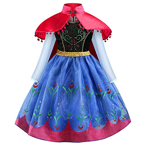 Disfraz Anna Frozen Niñas con Capa Princesa Ana Vestido Traje Elsa para Halloween Fiesta Fancy Dress Manga Larga con Capa Traje Infantil Nieve Hielo Fiesta Rojo 5-6 Años