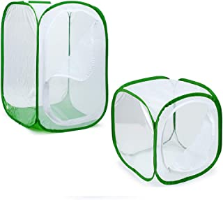 GYFHMY Butterfly Kits Habitat Insect and Cage Floral Large Monarch Habitat Giant Collapsible Mesh 24 X 24 X 36 Inches and 12 X 12 X 12 Inches Tall