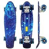 WeSkate Kinder Retro Skateboard 22' 55cm Mini Cruiser ABEC-9 Kugellager mit PU LED Leuchtrollen für...