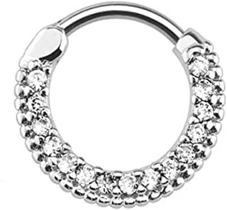 eg gifts Clicker Septum Ring Round Paved Gems 16g Surgical Steel