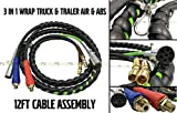 3-IN-1 Wrap 7-Way ABS Electric Cord Cable and Air Line Hose Assembly 12' Feet