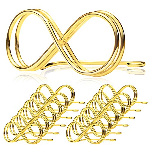 Pullan Table Number Holder Stands 12 Pack - Wedding Seating Labels Placecard Clips | Name Setting Place Card Holders | Photo Picture Cards Display Stand for Party | Reserved Sign Numbers 2.6 Inch Gold