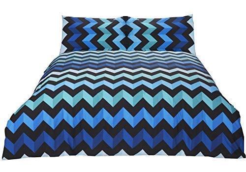 Zig Zag Chevron Rayures Bleu Noir Mélange de Coton Simple ( Noir Uni Drap Housse - 91 X 191cm + 25) Noir Uni Femme au Foyer Taie D'Oreiller 5 Pièces Ensemble de Literie