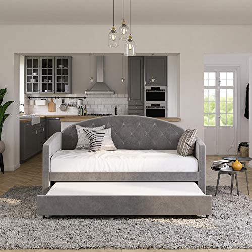 DHP Ilena Upholstered Daybed with Trundle, Twin, Light Gray Velvet Beds