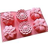 Allforhome (TM), Silikon-Muffin-Backform, 6 Blumenförmchen, für handgefertigte Seife, Kekse,...