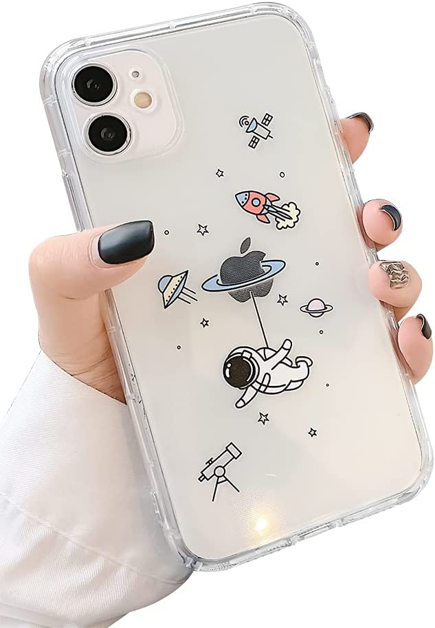 Ownest Compatible with iPhone 12 /iPhone 12 Pro Case for Clear Creative Astronaut Cute Cartoon Pattern for Boys Girls Soft TPU Protective Slim Shockproof Case for iPhone 12/12 Pro-Fly
