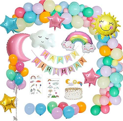 Decoración De Cumpleaños, cumpleaños Decor, Decoraciones De Fiesta De Cumpleaños, Cumpleaños Fiesta Decoracion, Decoración de globos de fiesta con pancarta de feliz cumpleaños para Niños Niñas
