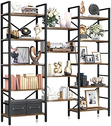 NUMENN Triple Wide 5 Tier Bookshelf, Rustic Industrial...