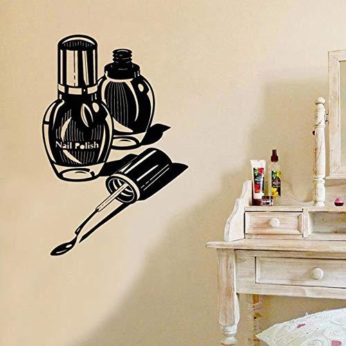 XCSJX Adhesivo de Pared Salón de uñas Arte Salón de Belleza Decoración de Interiores Vinilo Adhesivo de Pared Manicurista Manicura Mujer Regalo Removible Mural 68x102cm Personalizable