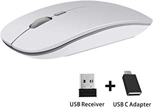 TENMOS T9 Silent Wireless Mouse, 2.4G Ultra Slim Portable Travel Mouse Optical Computer Mice with Nano Receiver Compatible with Notebook, PC, Laptop, Computer (Silver)
