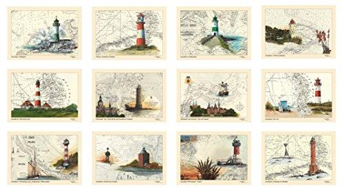 Postkarten/Grußkarten/Sammel-Set von Thomas Kubitz mit den Motiven des 'Moin, moin'-Kalenders 2017 (Leuchttürme, Ostsee und Nordsee auf historischen Seekarten)