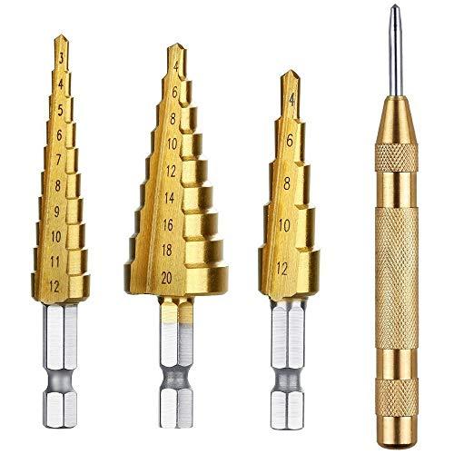 WUXUN-Drill Bit 3 pcs HSS Titanium Step Drill Bit Set 1 pcs for Automatic Center Punch (Color : Gold)