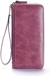 GUMAOPAJIAAAqb Monederos de Mujer, Women's wallet leather designer wallet ladies zipper long wallet wrist money bag card h...