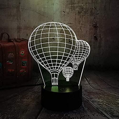 3D ilusión luz 3D lámpara de mesa 7 cambio de color globo de aire caliente llevó la luz de la noche creativo óptico sueño ilusión día de San Valentín niños regalo