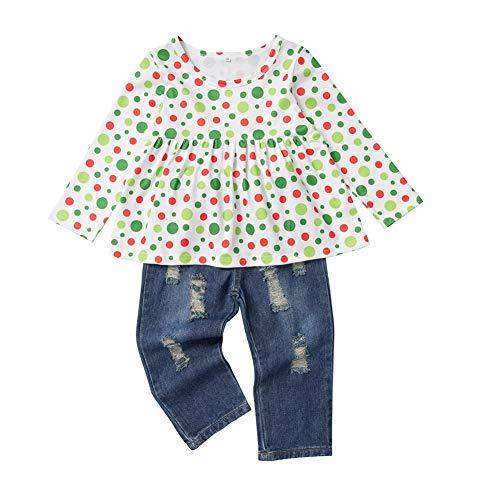 BOBORA Ensemble Bébé Fille, 2PCs Vêtements Petites Filles Enfants Automne Hiver T-Shirt à Manches Longues et Fleurs+Pantalons Jeans 1-6Ans