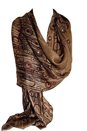 Bullahshah Weiches Plüsch abstrakte umrahmten Pashmina Gefühl Wrap Schal Stola Schal-Hijab (Mokka-braun)