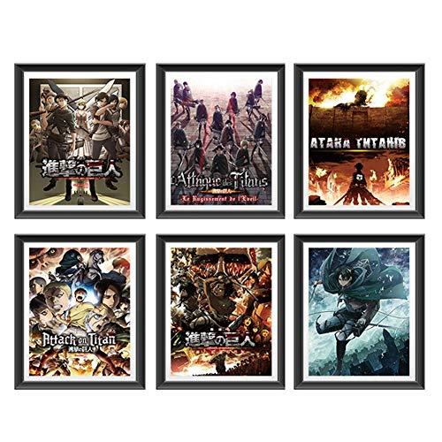 Chutoral Lot de 6 affiches manga L'attaque des Titans sur soie Décoration de la maison sans cadre