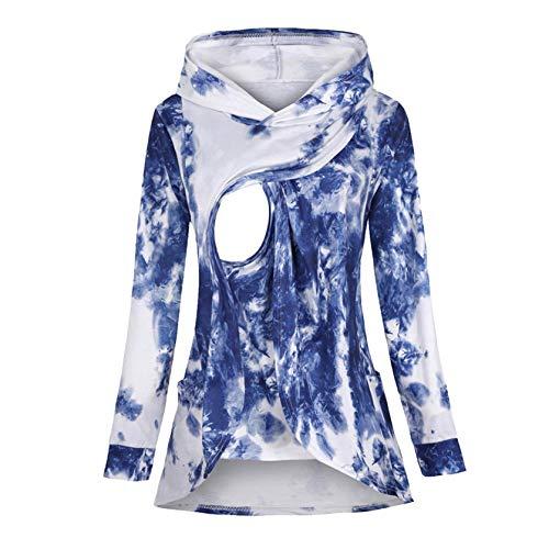 Sweat-Shirt Allaitement Maternité Sweat à Capuche - Covermason Femme T-Shirt Chic Tops à Manches Longues Grossesse Tops de maternité Hauts Pullover de Allaitement Sweats