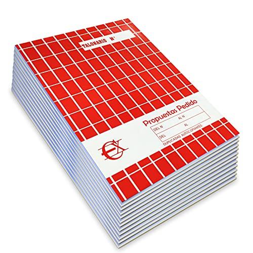 EUROXANTY® Propuestas de pedido | 40 Hojas por talonario - 20 Páginas originales + 20 Páginas auto copiantes | 480 Hojas en total - 240 Originales + 240 Auto copiantes | 20'5 cm * 14'5 cm ⭐