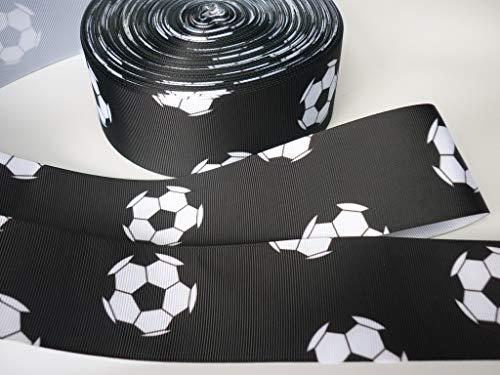 Geschenkband für Kuchendekoration, Fußball-Motiv, 1 m x 50 mm, Schwarz