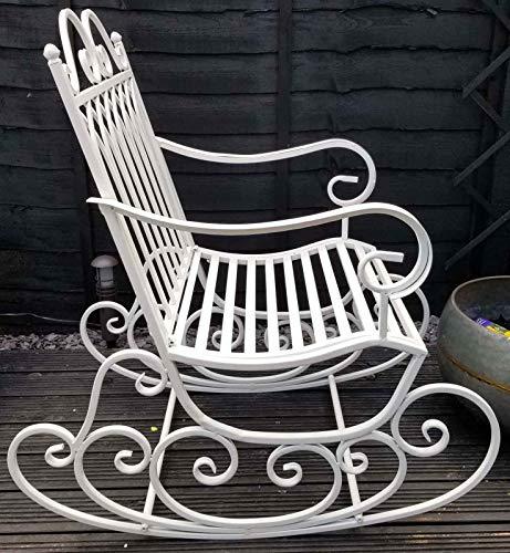 SK Style Mecedora de jardín de Metal, diseño clásico en Blanco