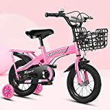 RUIXFEC Niño Bicicleta, Bicicleta para Niños Unisex Freestyle, Bicicleta Infantil con Ruedas de Entrenamiento y Estabilizadores, 16 Pulgadas, Asiento Ajustable, Bicicletas para Niños de Diseño Moda