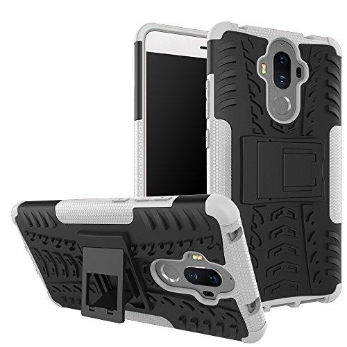 TiHen Funda Huawei Mate 9 360 Grados Protective con Pantalla de Vidrio Templado. Caso Carcasa Case Cover Skin móviles telefonía Carcasas Fundas para Huawei Mate 9 - Blanca