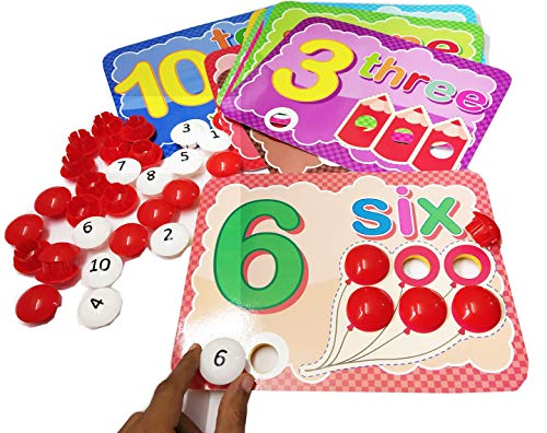 goappugo counting number learning toys, 55 jumbo buttons, 10 activity cards, activity toys for 2 3 4 year old girls boys kids, learning educational toys, baby birthday gifts- Multi color