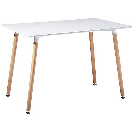 IPOTIUS Table Rectangulaire Salle à Manger en Bois Scandinave 2 à 4 Personnes Table de Cuisine Moderne avec Pieds en Bois, 110x70X72cm Blanc