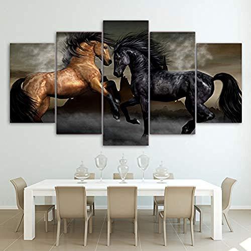 suwhao Muurtattoos & wandafbeeldingen Moderne canvas woonkamer foto's schilderij wand kunstwerk 5 panelen dier paarden werken Hd gedrukt modulaire poster wooncultuur