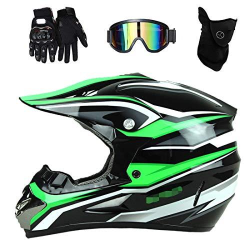 Casco de motocicleta de motocross para adultos con gafas, guantes de máscara, casco cruzado profesional verde, casco de bicicleta de montaña Four Seasons Unisex Casco de descenso