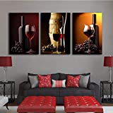 SJYHNB Arte de la Pared Lienzo Vino tinto Carteles Impresiones Arte Moderno de la Pared Imagen Sala de Estar Decoración 40 x 60 cm x 3 Paneles (con Marco)