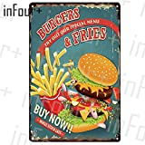 Pfannkuchen Plaque Metall Vintage Burger Metallschild Hot