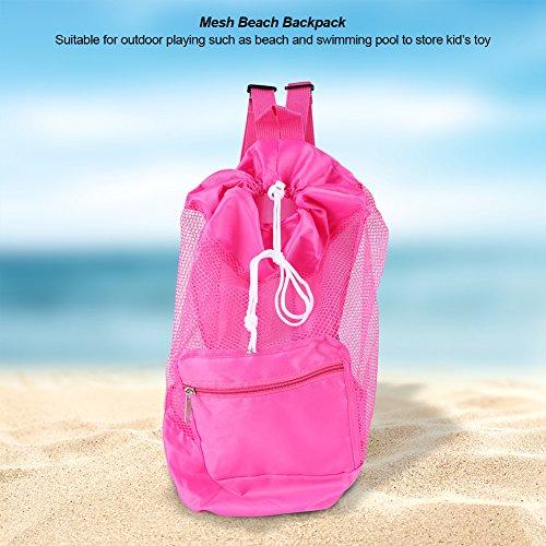 Bolsa de Playa, Mochila de Playa, Correas de Hombro Plegables compactas de Malla Doble para Jugar al Aire Libre Niños Shell Storage Juguetes para niños Almacenamiento para(Pink)