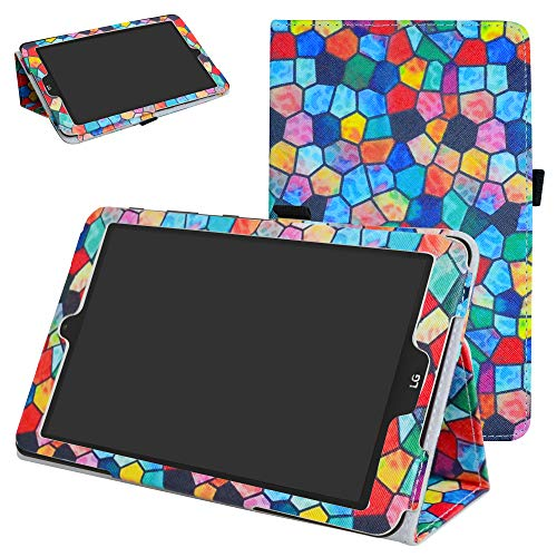 Mama Mouth PU Leder Folio 2-folding Ständer Cover mit Stylus Halterung für 20,3cm LG G Pad X II 8.0Plus T-Mobile V530Android 7.0Tablet Stained Glass