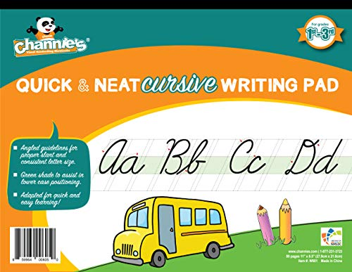"""Channie's Quick & Neat Cursive Handwriting Pad, 80 Pages Front & Back, 40 Sheets, Grades 1st – 3rd, Size 8.5"""" x 11"""""""
