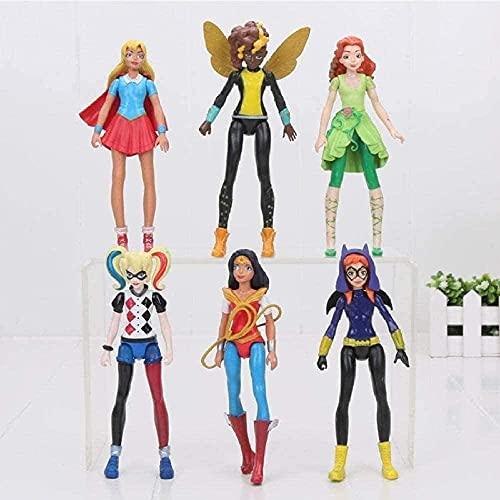Animesuper Hero Model girls Statue Model Poison Ivy Bee Harley Quinn Wonder Woman Action Figure doll Toy 6pcs / Set 14Cm
