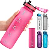 Cactaki 32oz Water Bottle with Time Marker, BPA Free, Non-Toxic, Leakproof, Durable, for Fitness and Outdoor Enthusiasts