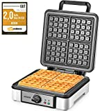 Aicook Waffle Maker Iron Belgian 4-Slice Waffle Machine 1200 W, Non-Stick Coating, Adjustable Temperature Control, Deep Cooking Plates,Mess-Free Moat, Indicator Lights, Cool Touch Handle
