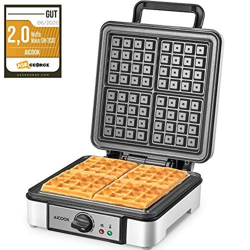 Waffles Piastra Belga 1200W Aicook, Piastra Per Waffle 4 Fette, Macchina Per Waffle con Controllo della Temperatura, Plastica Fenolica Antiscottatura, Indicatori Luminosi, Rivestimento Antiaderente