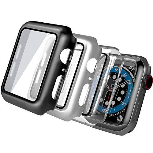 [3 Pack] Funda Compatible con Apple Watch 44mm Series 6/SE/5/4, Funda+Cristal Templado, PEMOTech PC Case y Vidrio Protector de Pantalla Integrados para iWatch Series 6/SE/5/4
