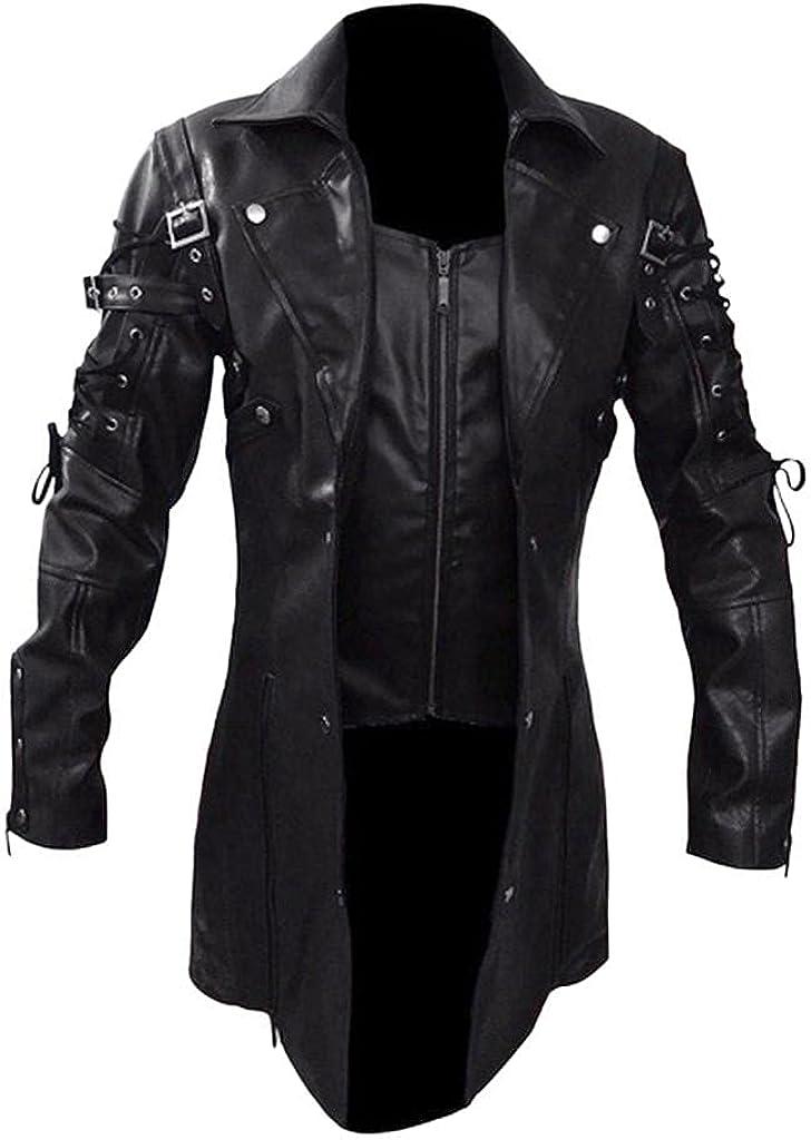 WoCoo Mens Faux Leather Jackets Top Turn-Down Collar Full Zipper Steampunk Overcoats Vintage Biker Motorcycle Outwear