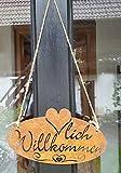 LB H&F Türschild - Herzlich Willkommen - Schild Weiss Schild 27x15 cm ausgestanzt mit Juteseil zum aufhängen (Willkommen Rost)