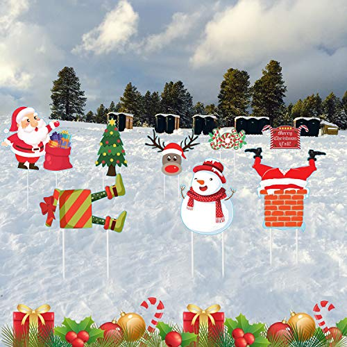 Pack of 8 Christmas Yard Signs with Stakes, Xmas Snowman Santa Reindeer Yard Signs for Winter Garden Yard Lawn Patio Indoor Outdoor Decor
