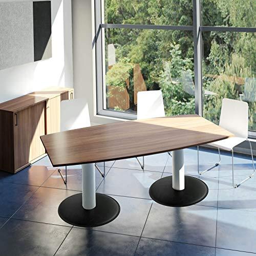 WeberBÜRO Optima conferentafel bootvorm 200 x 100 cm vergadertafel notenhout tafel eettafel keukentafel