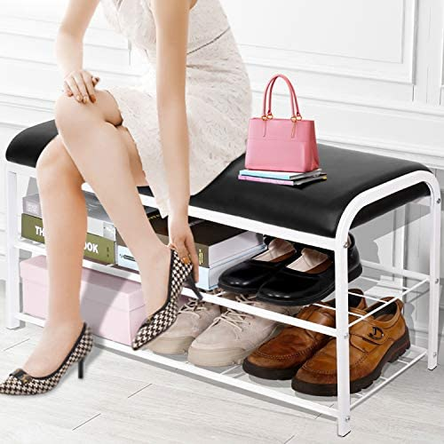WillingHeart Shoe Bench Rack Entryway with Faux Leather Seat Holds Up to 400Lb 2 Tiers Iron product image