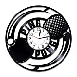 Kovides Table Tennis Birthday Gift Idea Sport Vinyl Clock 12 Inch Ping-Pong Handmade Clock for Man and Woman...